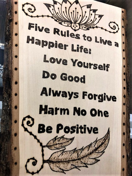 jaan-imports - Handmade Pyrography Art- Simple Rules, Happy Life Quote - Khoobsurat Gift Shop - Pyro Art