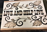 jaan-imports - Handmade Pyrography Art- Live and Help Live Quote - Khoobsurat Gift Shop - Pyro Art
