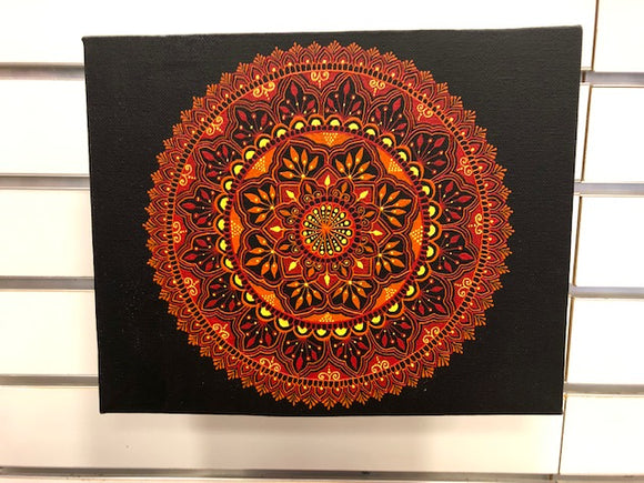 jaan-imports - Mandala Red Orange Yellow-Handmade Henna Inspired Art - Khoobsurat Gift Shop - Henna Art