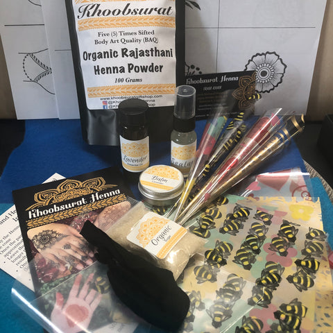 Ultimate DIY Henna Kit 100 Grams Henna Powder With Cello Cones and Sheets, Aftercare Balm, Sealant, Instructions and Designs