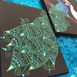 jaan-imports - Handmade Henna Inspired Art- Beautiful Green and White Peacock on Three Panels - Khoobsurat Gift Shop - Henna Art