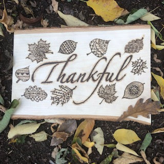jaan-imports - THANKFUL with Fall Leaves Handmade Pyrography Art - Khoobsurat Gift Shop - Pyro Art