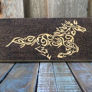 jaan-imports - 'The Golden Horse' Handmade Carved Horse Pyrography Art - Khoobsurat Gift Shop - Pyro Art
