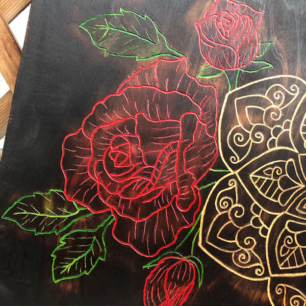 Roses Peonies and Mandala Carved Pyrography Art