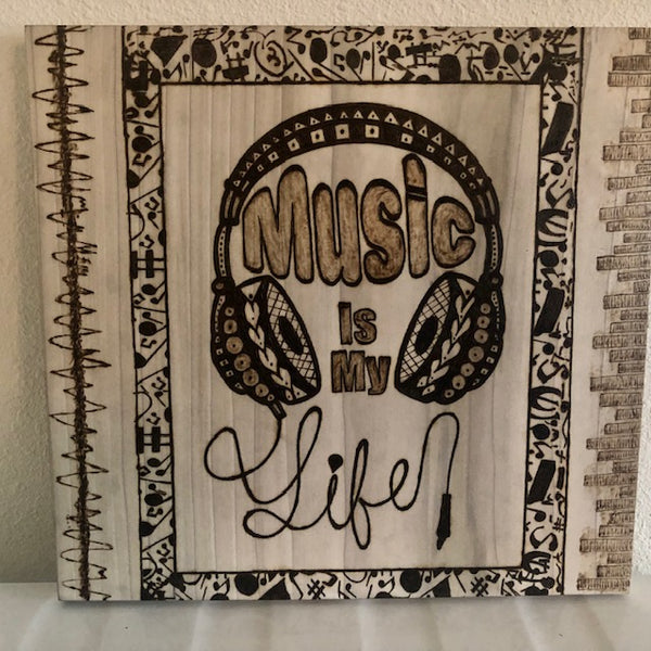 jaan-imports - Music is My Life with Music Notes Handmade Pyrography/Wood Burning Art - Khoobsurat Gift Shop - Pyro Art