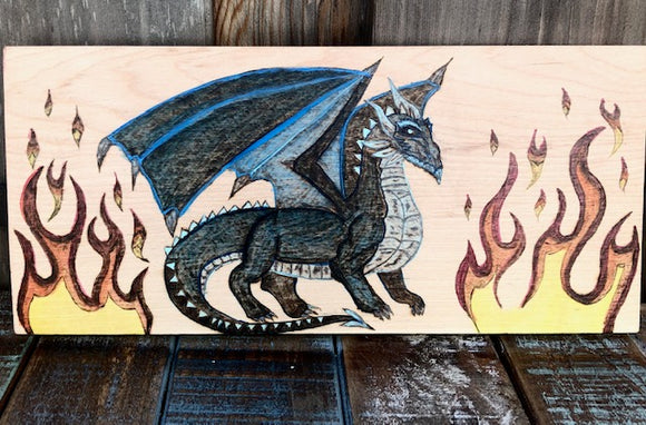 jaan-imports - Ice Dragon with Flames Handmade Pyrography/ Wood Burning Art Home Decor Gift - Khoobsurat Gift Shop - Pyro Art