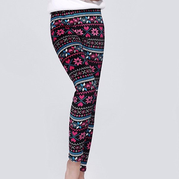 jaan-imports - Geometric Hearts Winter Fleece Lined Leggings - Khoobsurat Gift Shop - Leggings