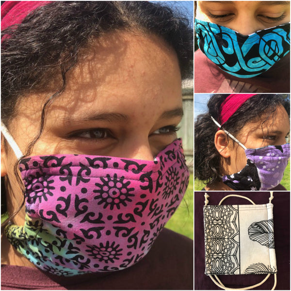 100% Cotton Face Mask Triple Layer with Filter Sewn in and Wire for the Nose. Handmade in the USA