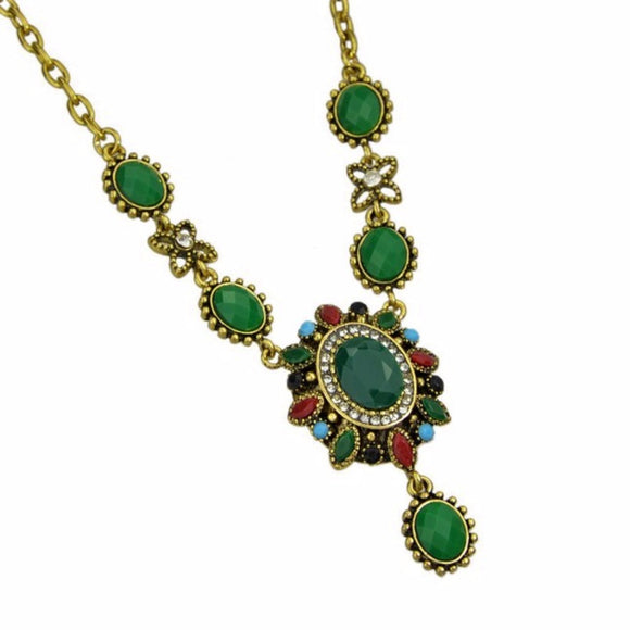 jaan-imports - Ethnic Green Statement Necklace - Khoobsurat Gift Shop - Necklace