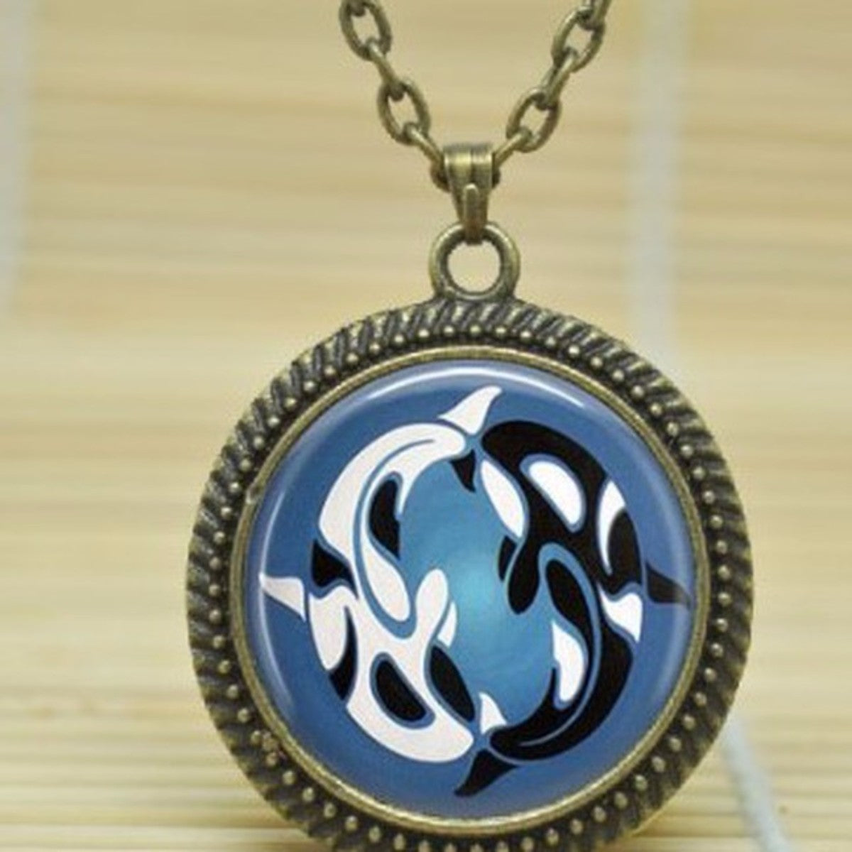 jaan-imports - Yin Yang Whales Cabochon Necklace - Khoobsurat Gift Shop - Necklace