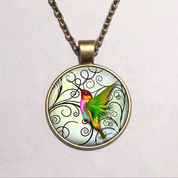 jaan-imports - Hummingbird Cabochon Necklace - Khoobsurat Gift Shop - Necklace
