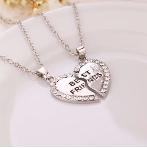 jaan-imports - Best Friends Heart Rhinestones Necklace - Khoobsurat Gift Shop - Necklace