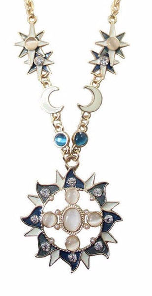 jaan-imports - Moon Sun and Star Rhinestone Long Necklace (2 Styles) - Khoobsurat Gift Shop - Necklace