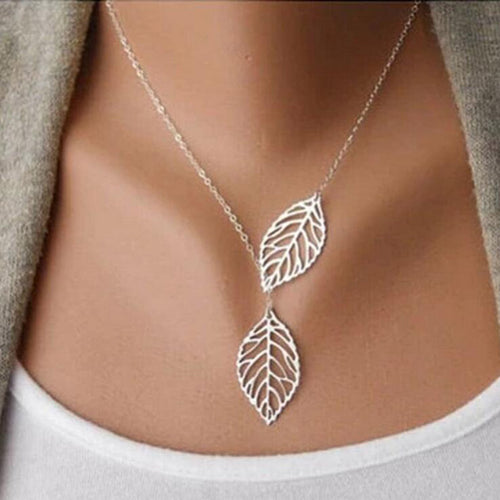 jaan-imports - Double Leaf Intertwined Lightweight Necklace - Khoobsurat Gift Shop - Necklace