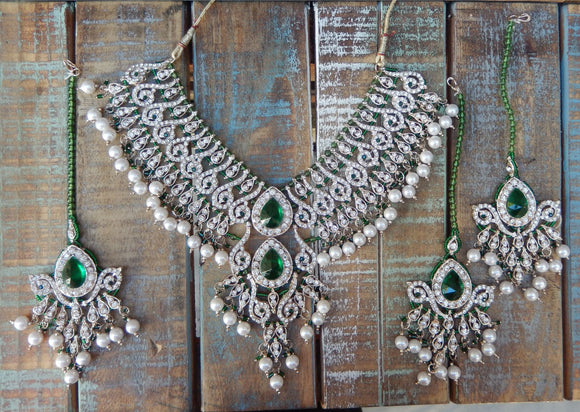 jaan-imports - Green  4 Piece Crystal Statement Kundan Bollywood Jewelry Set - Khoobsurat Gift Shop - Bollywood Jewelry Set