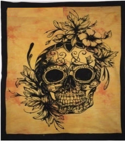 jaan-imports - Yellow Color Skull with Flowers Poster Tapestry - Khoobsurat Gift Shop - Poster Tapestry