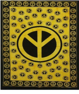 jaan-imports - Yellow Color Peace Sign Poster Tapestry - Khoobsurat Gift Shop - Poster Tapestry