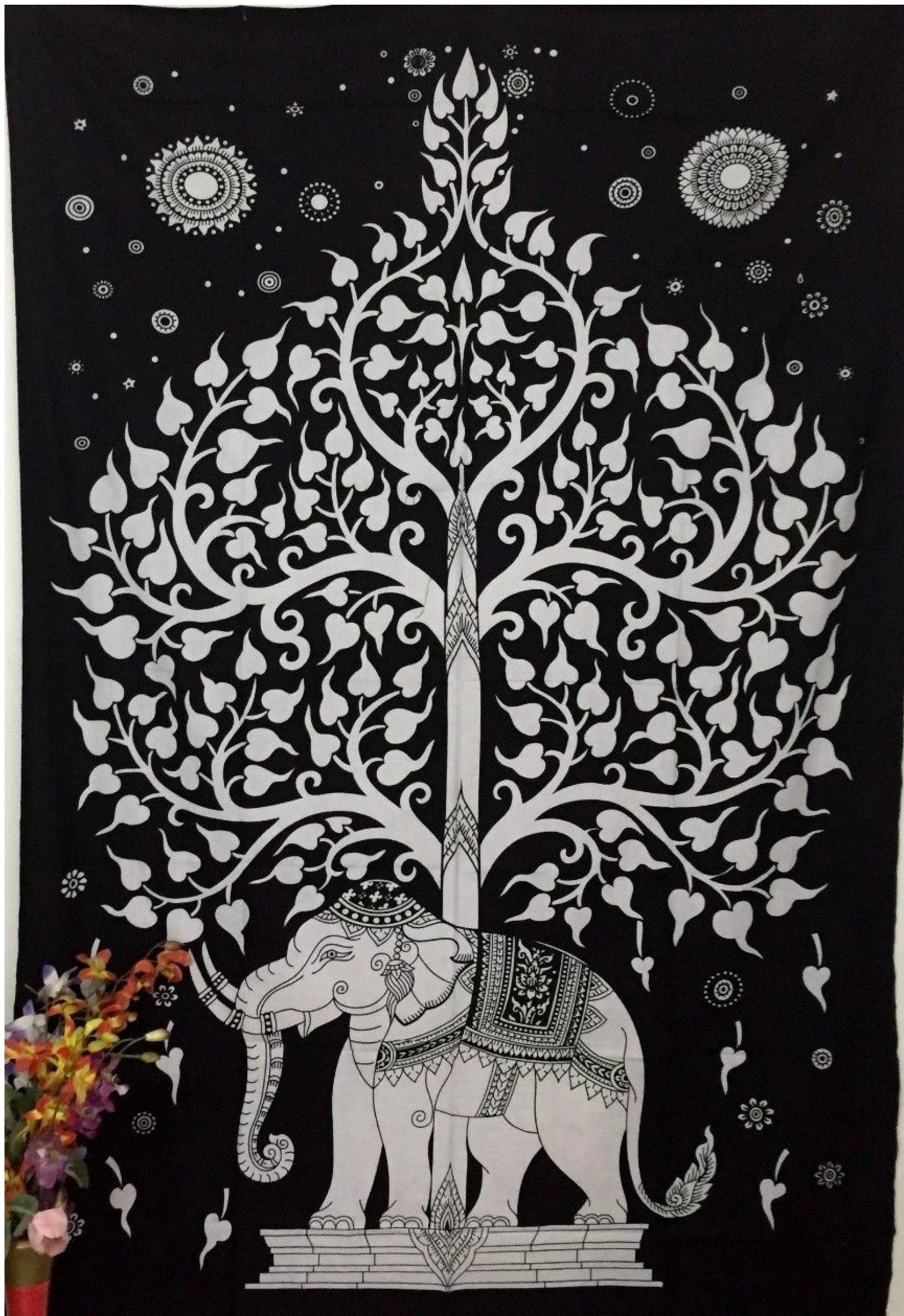 jaan-imports - Black and White Tree of Life Elephant Poster Tapestry - Khoobsurat Gift Shop - Poster Tapestry