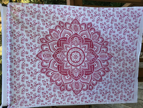 jaan-imports - Pink Red Flower Mandala Poster Tapestry - Khoobsurat Gift Shop - Poster Tapestry