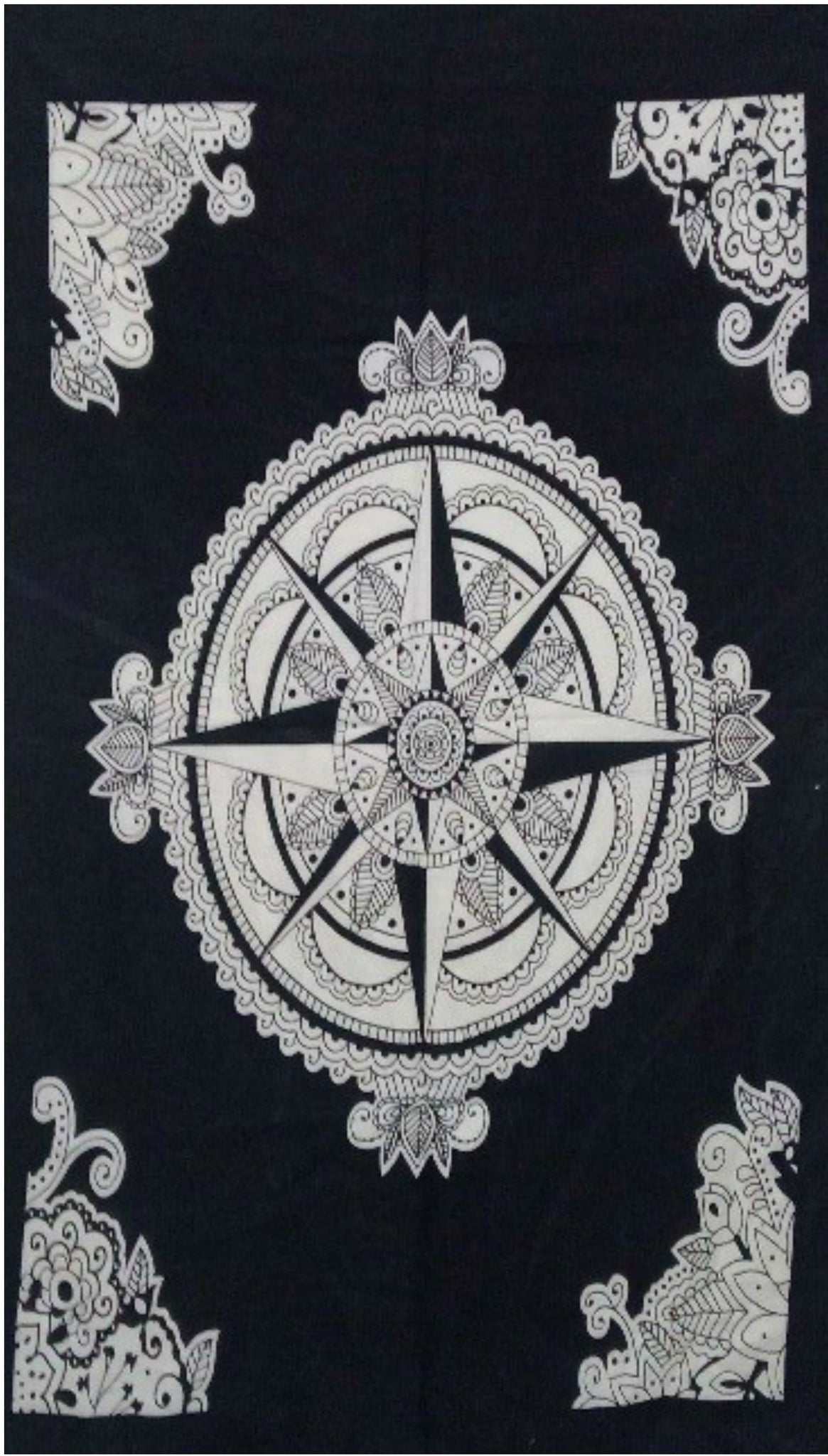 jaan-imports - Black and White Compass Poster Tapestry - Khoobsurat Gift Shop - Poster Tapestry