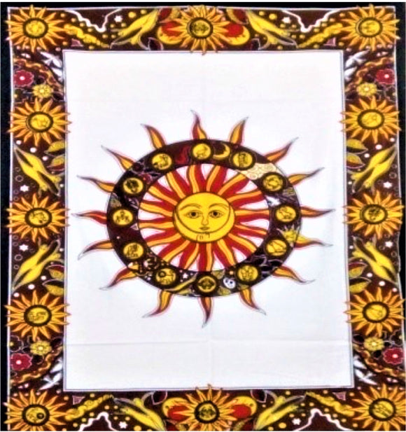 jaan-imports - Sun Yellow Red with White Background Poster Tapestry - Khoobsurat Gift Shop - Poster Tapestry
