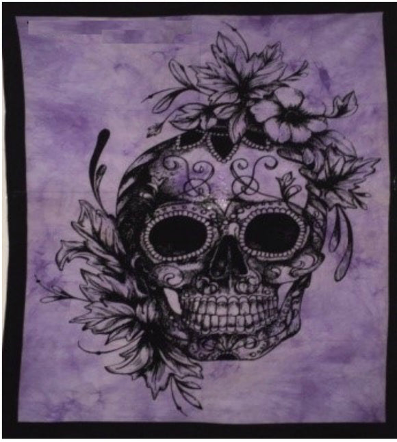 jaan-imports - Purple Skull with Flowers Poster Tapestry - Khoobsurat Gift Shop - Poster Tapestry