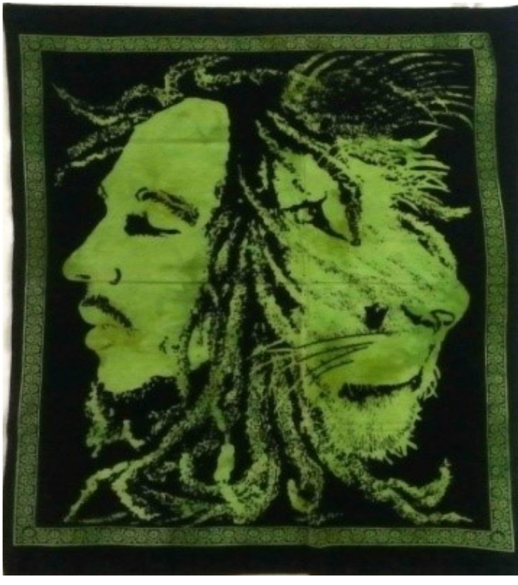 jaan-imports - Bob Marley with Lion Green Color Poster Tapestry - Khoobsurat Gift Shop - Poster Tapestry