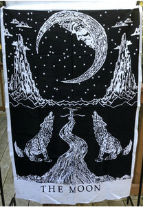 jaan-imports - Moon Wolf Black and White Poster Tapestry - Khoobsurat Gift Shop - Poster Tapestry