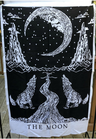 Moon Wolf Black and White Poster Tapestry