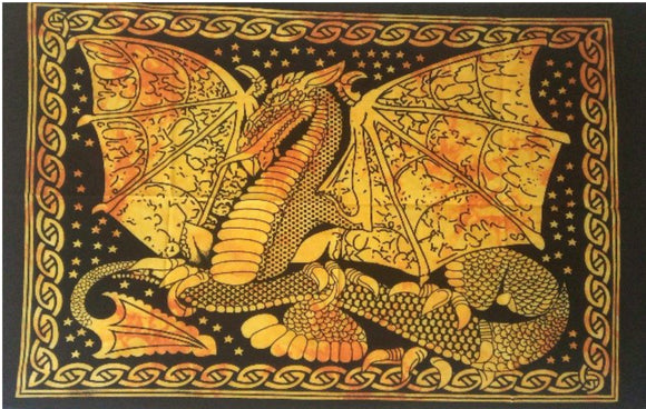 jaan-imports - Yellow Orange Color Dragon Poster Tapestry - Khoobsurat Gift Shop - Poster Tapestry