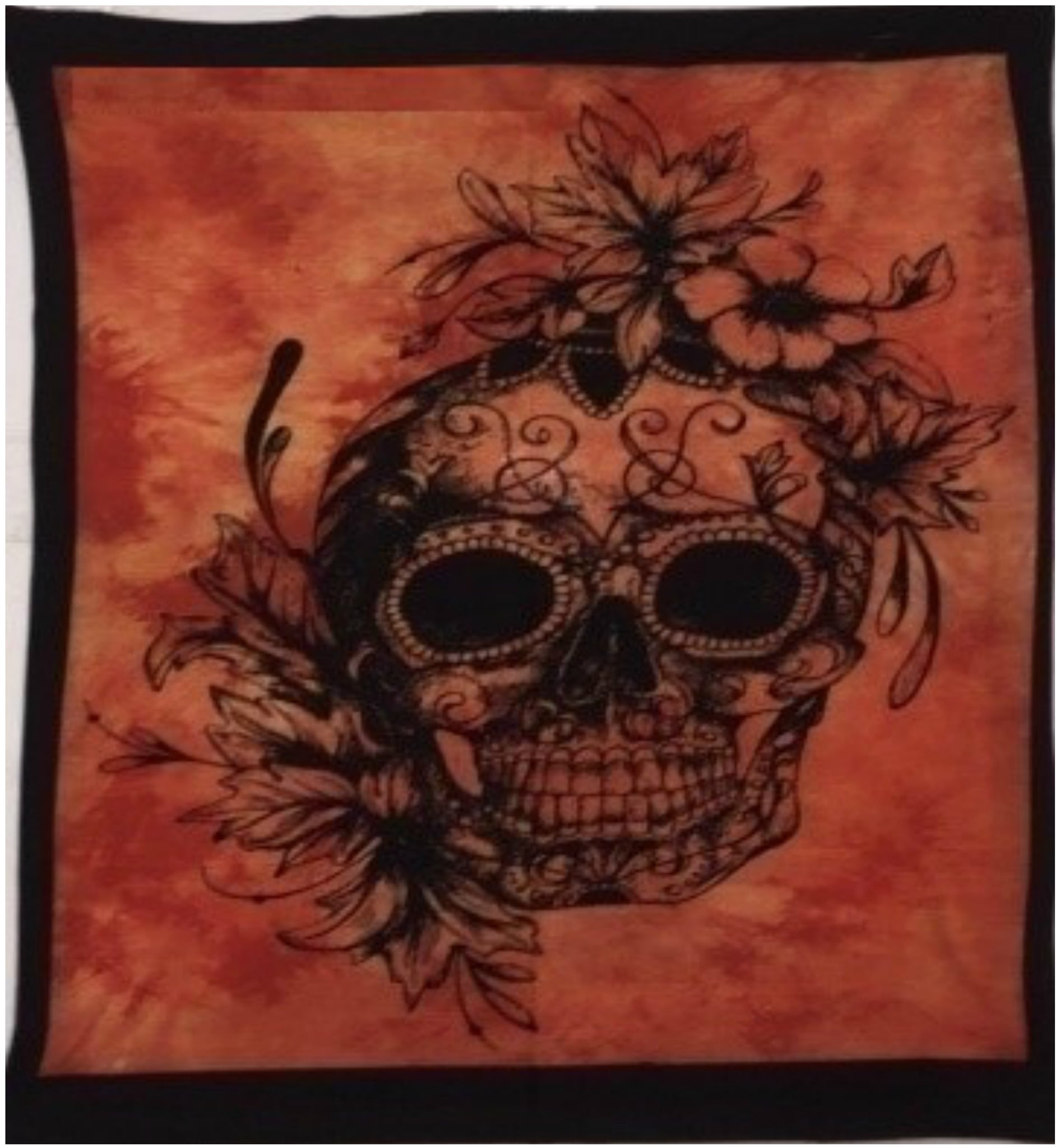 jaan-imports - Orange Color Skull Poster Tapestry - Khoobsurat Gift Shop - Poster Tapestry