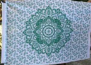 jaan-imports - Green Flower Mandala Poster Tapestry - Khoobsurat Gift Shop - Poster Tapestry