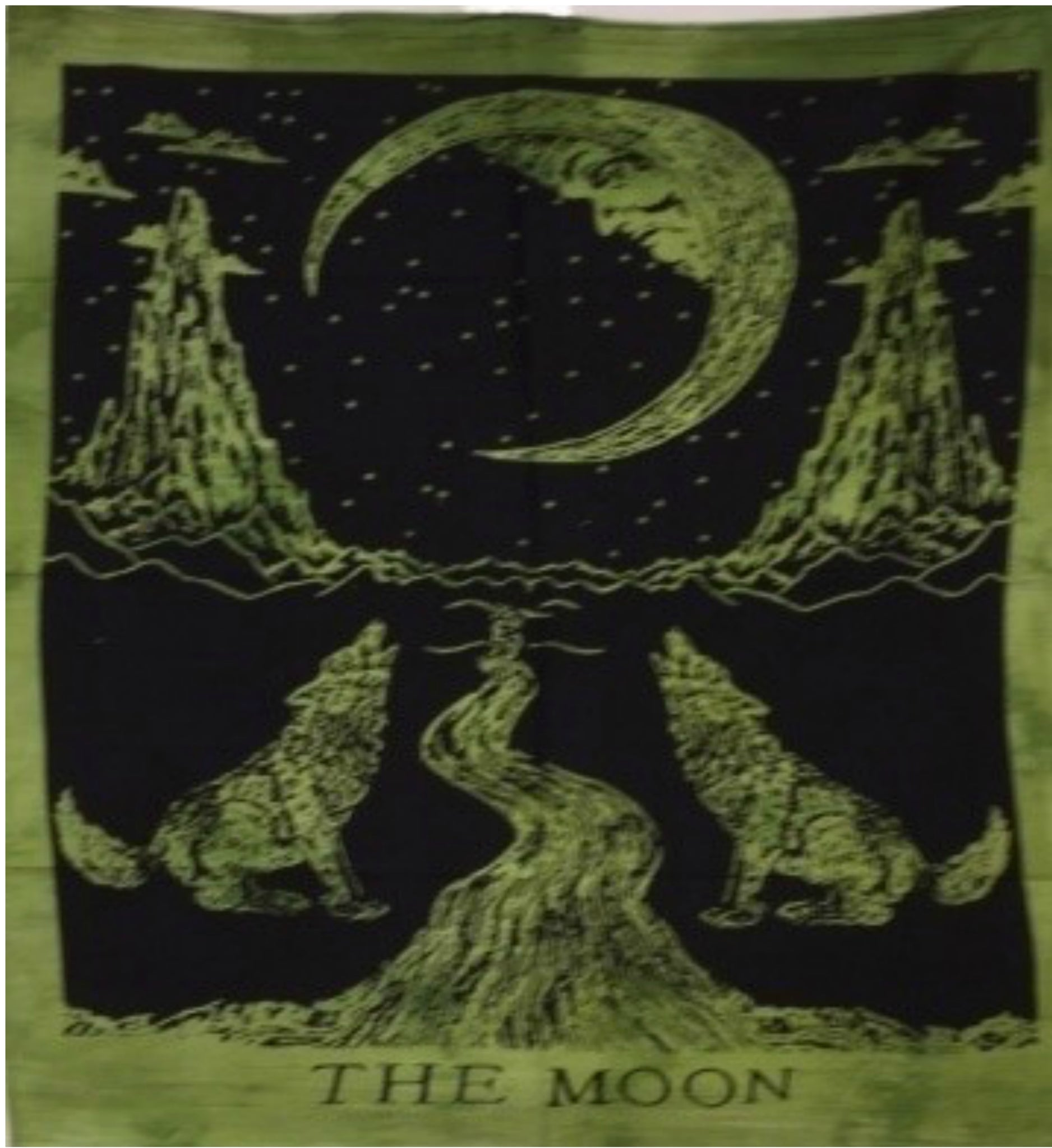 jaan-imports - Green Color Wolf Moon Poster Tapestry - Khoobsurat Gift Shop - Poster Tapestry