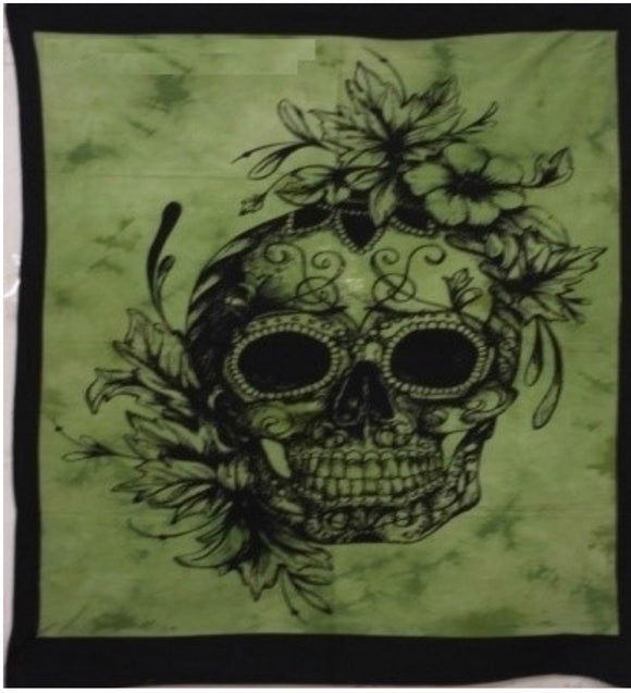 jaan-imports - Green Color Skull Poster Tapestry - Khoobsurat Gift Shop - Poster Tapestry