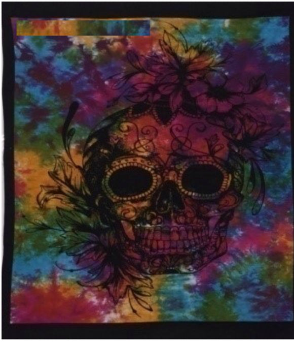 jaan-imports - Tie Dye Skull Poster Tapestry - Khoobsurat Gift Shop - Poster Tapestry