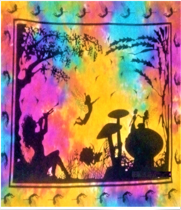 jaan-imports - Tie Dye Colorful Fairies Poster Tapestry - Khoobsurat Gift Shop - Poster Tapestry