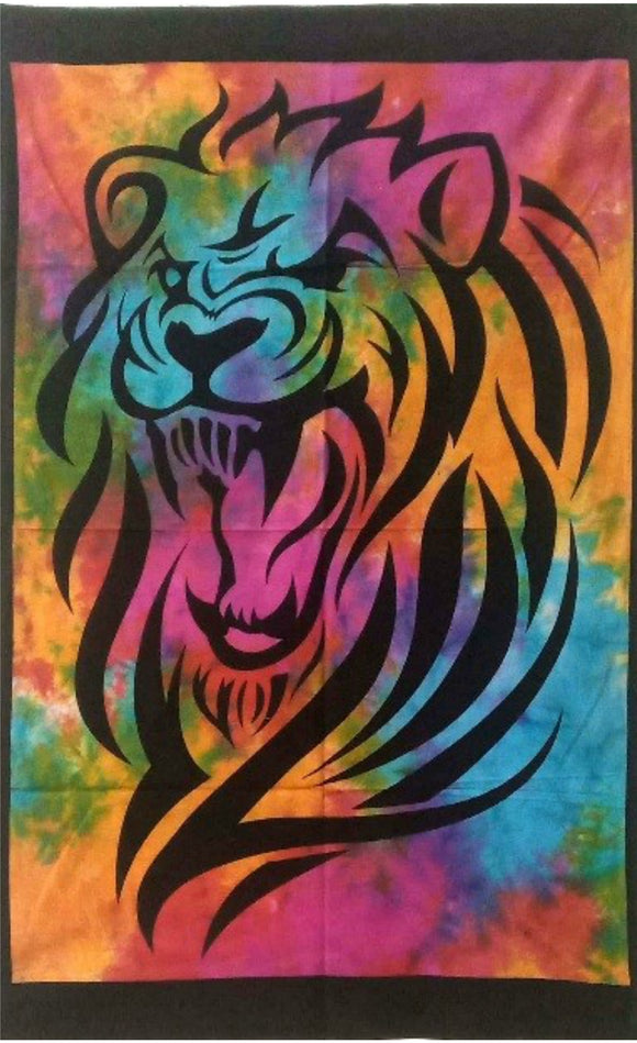 jaan-imports - Tie Dye Colorful Lion Tiger Poster Tapestry - Khoobsurat Gift Shop - Poster Tapestry