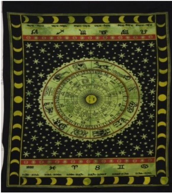 jaan-imports - Green Color Zodiac Poster Tapestry - Khoobsurat Gift Shop - Poster Tapestry