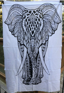 jaan-imports - Black and White Elephant Poster Tapestry - Khoobsurat Gift Shop - Poster Tapestry