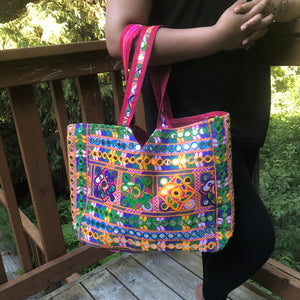 jaan-imports - Pink Multi Color Handmade Extra Large Banjara Bag - Khoobsurat Gift Shop - Banjara ethnic bag