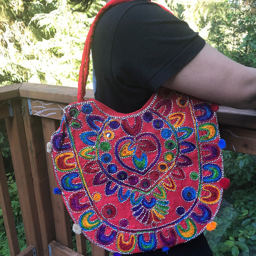 jaan-imports - Red Multi Color Handmade Banjara Bag - Khoobsurat Gift Shop - Banjara ethnic bag