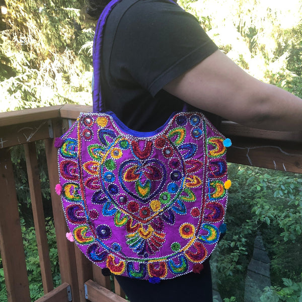 jaan-imports - Purple Multi Color Handmade Banjara Bag - Khoobsurat Gift Shop - Banjara ethnic bag