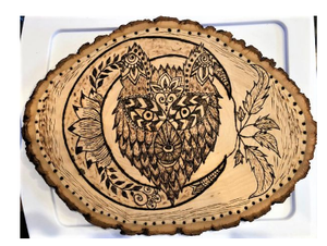 jaan-imports - Handmade Pyrography Art- Wolf and Moon - Khoobsurat Gift Shop - Pyro Art