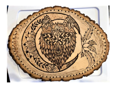 Handmade Pyrography Art- Wolf and Moon