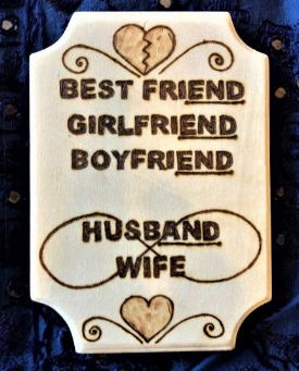 Handmade Pyrography Art- Husband and Wife Love Quote