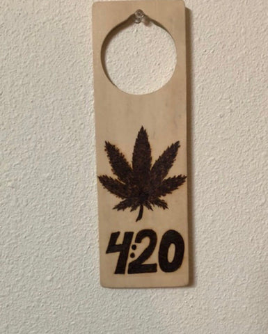 Handmade Pyrography Art- Door Hanger 420 Leaf