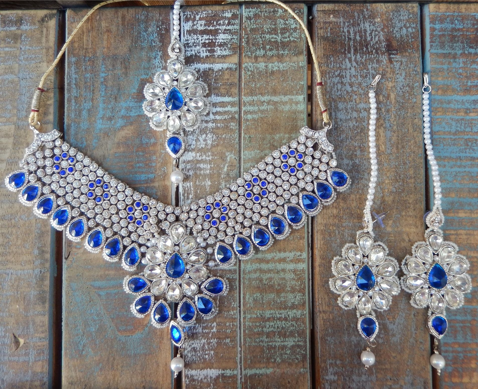 jaan-imports - Blue Or Multi-Color  4 Piece Crystal Statement Kundan Bollywood Jewelry Set - Khoobsurat Gift Shop - Bollywood Jewelry Set