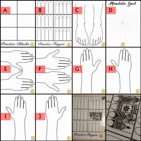 Henna Practice Laminated Sheets | 10 Styles to choose from | Henna Practice Hands, Feet, Mandala, Fingers, Grids, Board
