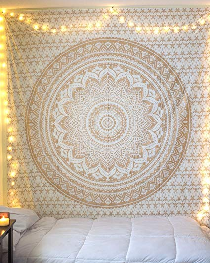 jaan-imports - Gold Mandala Queen Tapestry - Khoobsurat Gift Shop - Queen Tapestry
