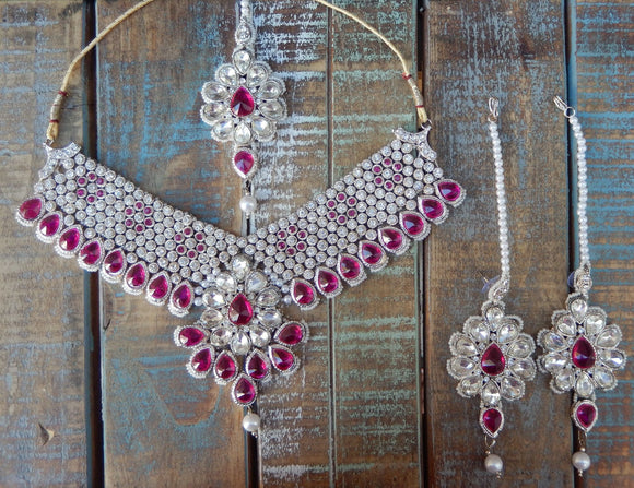 jaan-imports - Hot Pink 4 Piece Crystal Statement Kundan Bollywood Jewelry Set - Khoobsurat Gift Shop - Bollywood Jewelry Set